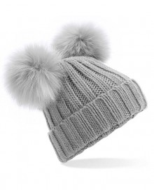 FAUX FUR DOUBLE POP POM BEANIE B414 10.BF.4.N93