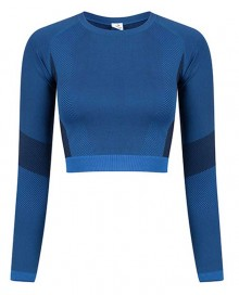 LADIES SEAMLESS PANELLED LONG SLEEVE CROP TOP TL352 14.TO.1.P31